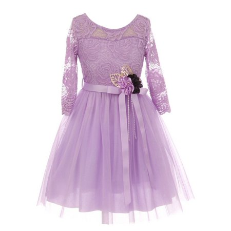 Girls Lilac Lace Tulle Handmade Flower Easter Dress ()
