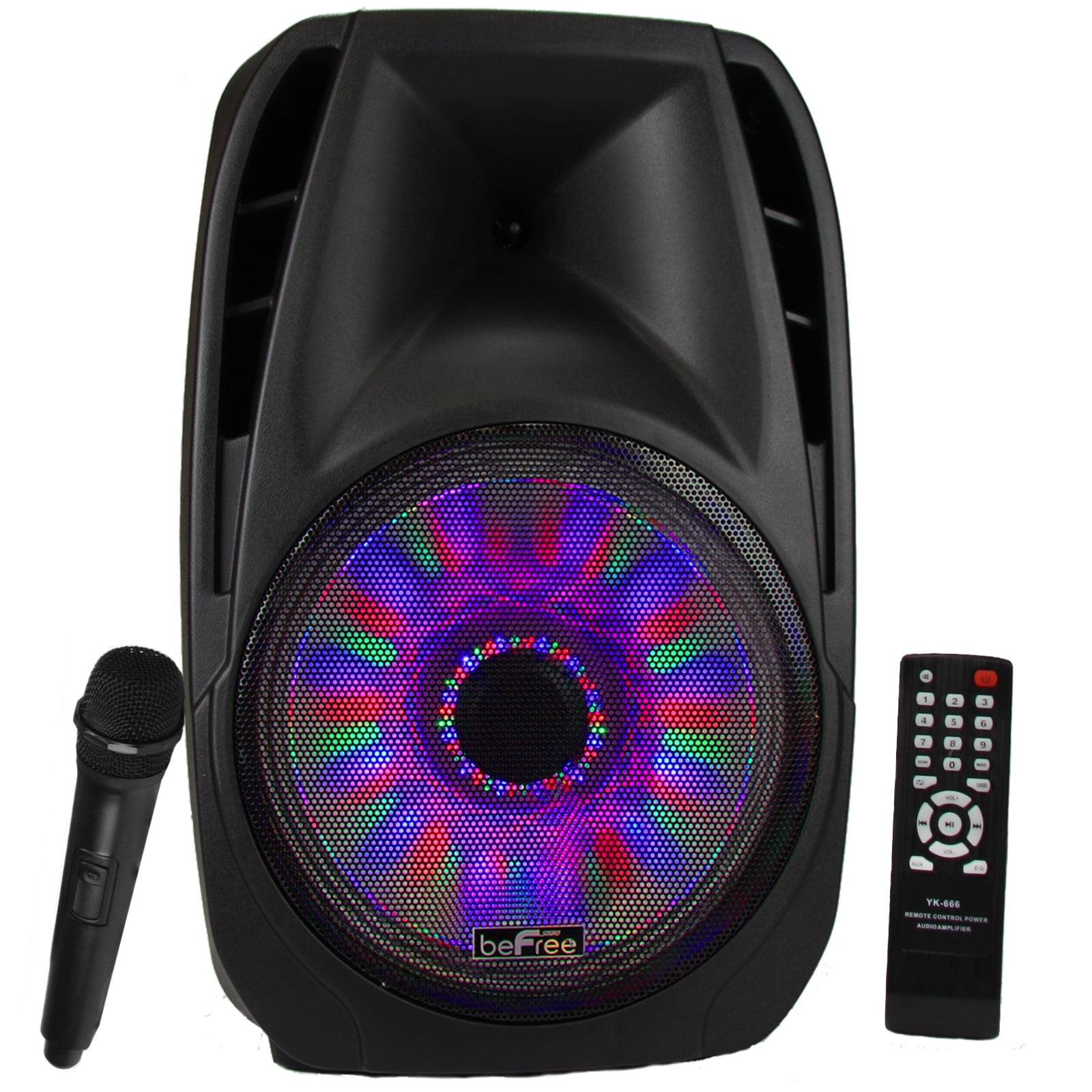 beFree Sound 15 Inch Bluetooth Tailgate Speaker with Sound/Volume Reactive  Lights