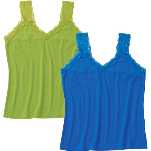 Faded Glory Women's Plus-Size Lace Trim Cami 2-Pack