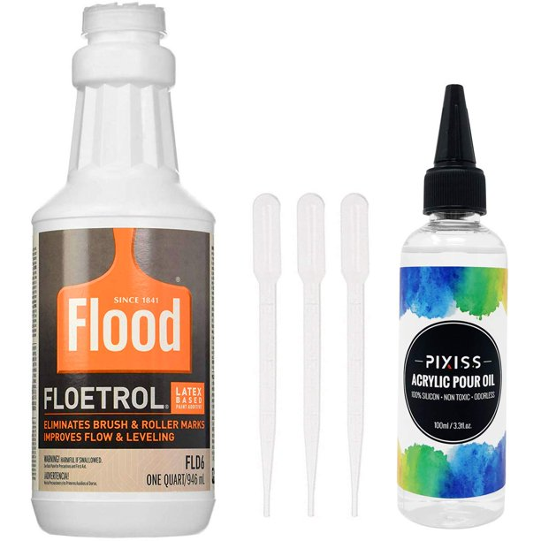 1 Quart Flood Floetrol Additive Pixiss Acrylic Pouring Oil For Creating Cells Perfect Flow 100 Pure High Grade Silicone 100ml 3 3 Ounce 3x Pipettes Walmart Com Walmart Com
