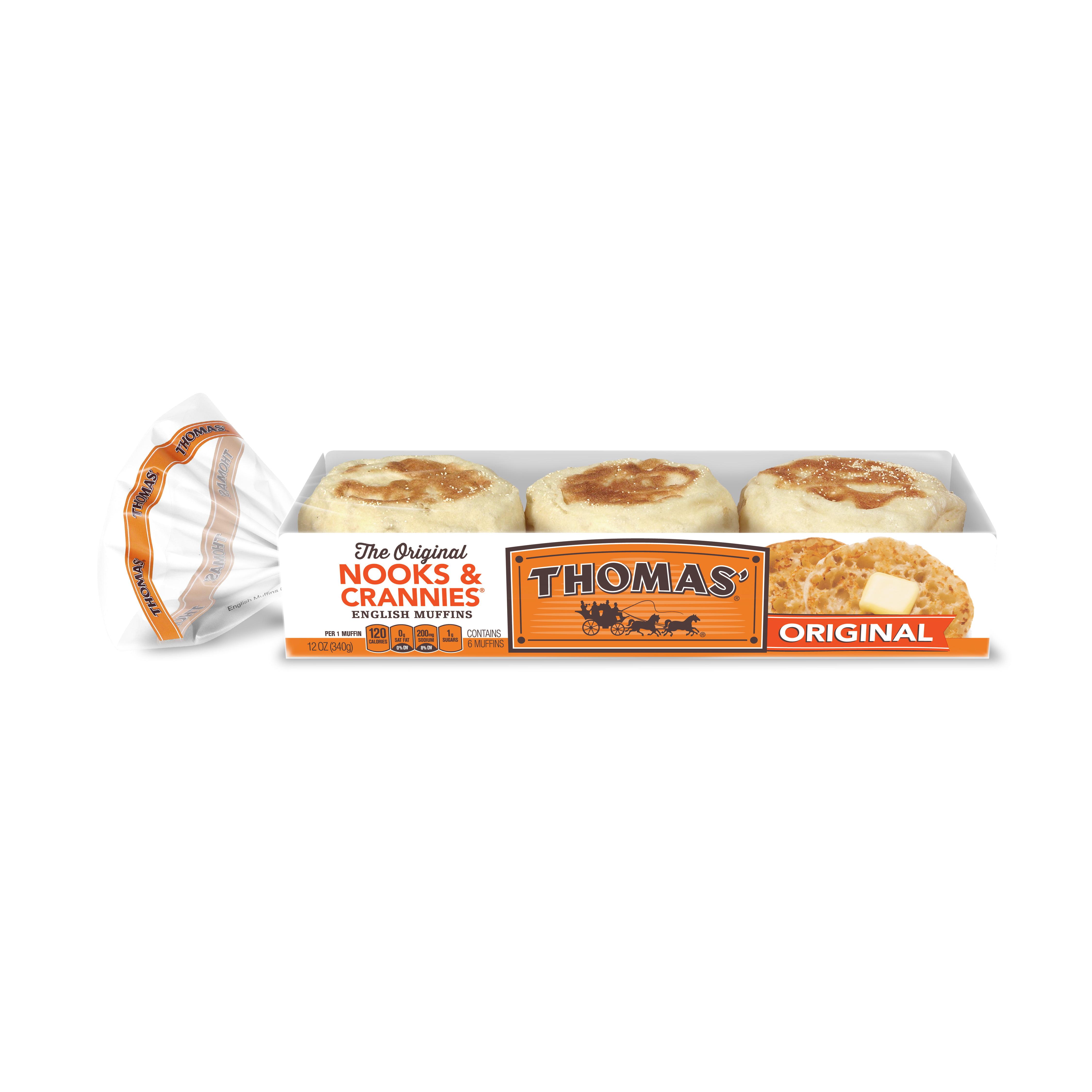 thomas' original english muffins, 6 count, 12 oz - walmart