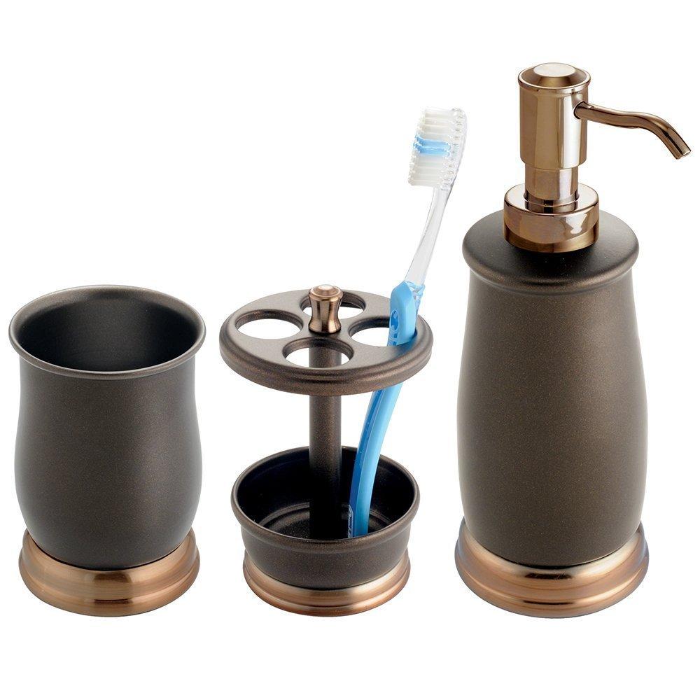 Mdesign Metal Bath Accessory Set Soap Dispenser Toothbrush Holder