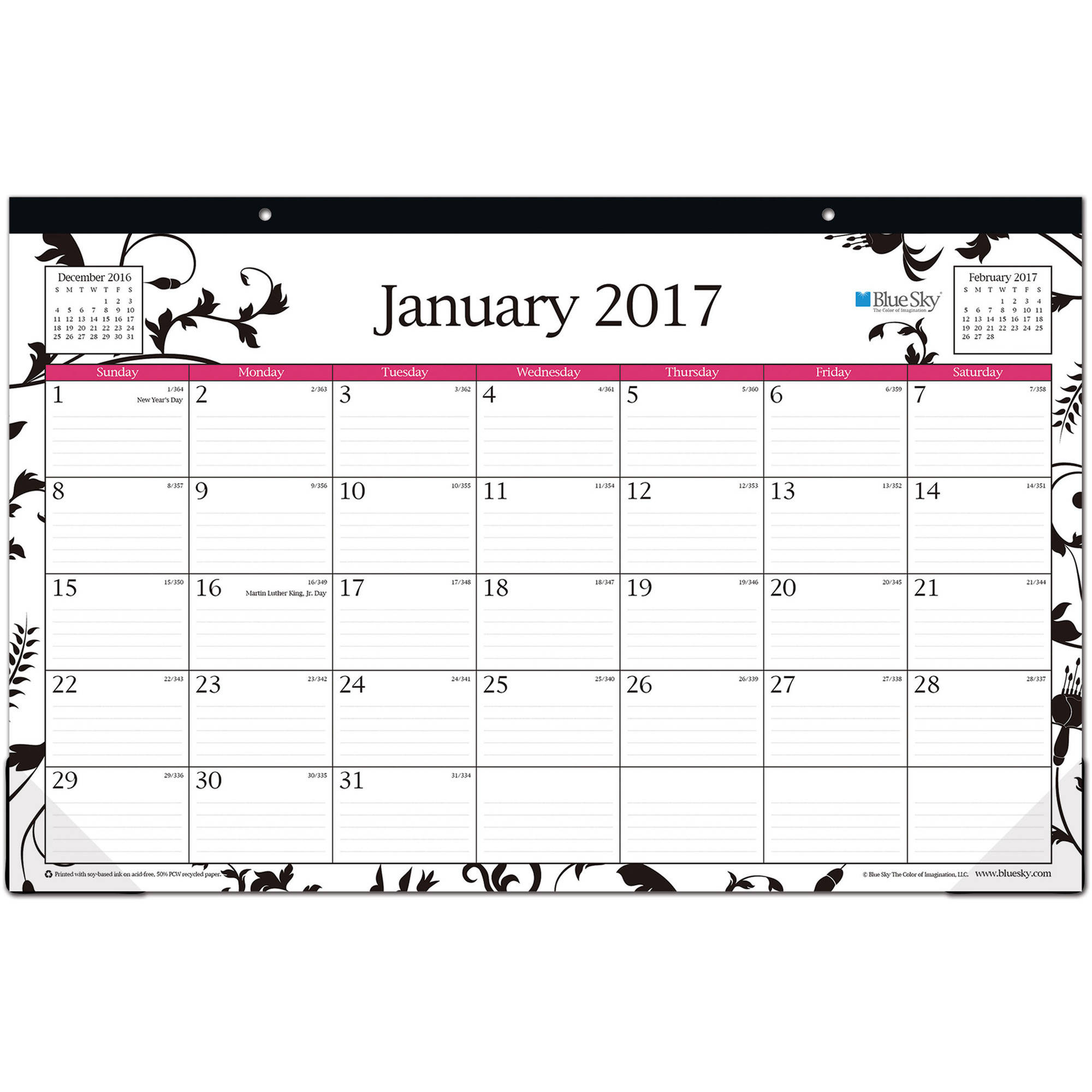 "Blue Sky Analeis 17"" x 11"" Monthly Desk Pad Calendar, 2017"