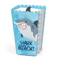 Shark Zone - Jawsome Shark Viewing Week Party or Birthday Party Favor Popcorn Treat Boxes - Set of 12
