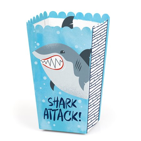 Shark Zone - Shark Week Party - Jawsome Shark Party or Birthday Party Favor Popcorn Treat Boxes - Set of 12 (Birthday Treat Boxes)