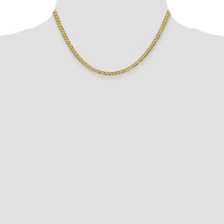 14k Yellow Gold 3.7mm Solid Flat Cuban Chain Necklace 16 Inch Pendant Charm Bismark Curb Miami Fine Jewelry For Women Gifts For Her - image 4 de 9