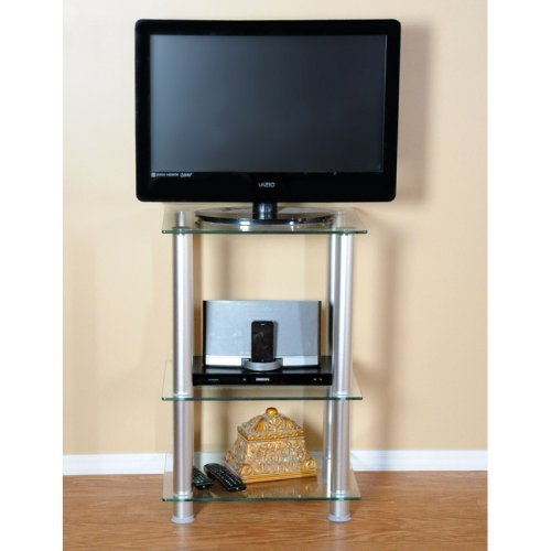 RTA Home and Office TVM-005 NEW Glass and Aluminum LCD and Plasma TV Stand