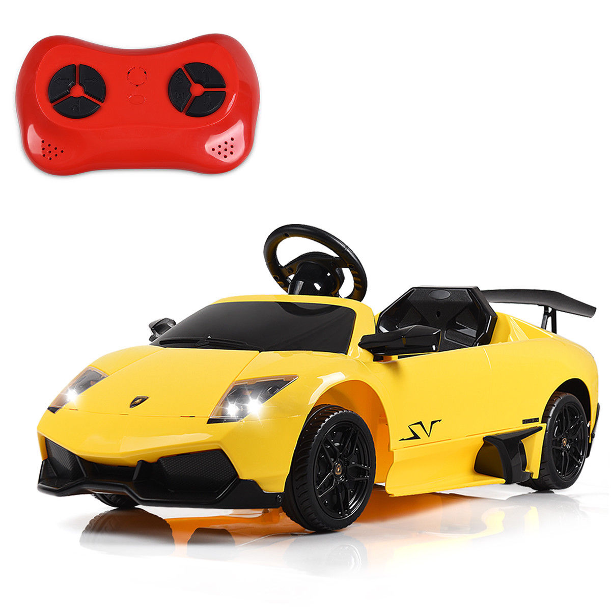 Gymax 12V Lamborghini Murciealgo Licensed Electric Kids Ride On Car RC w/ LED Lights