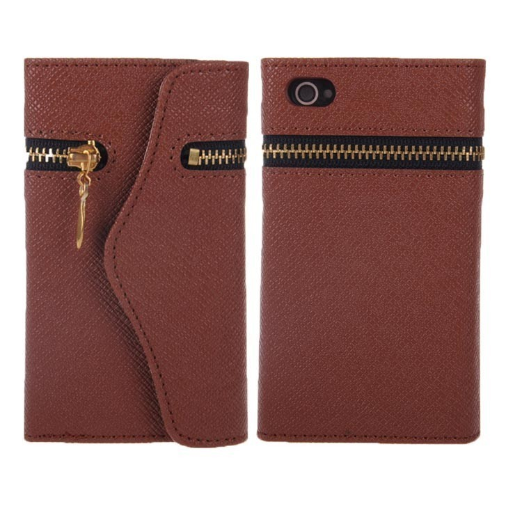 TCD iPhone 5 5S Elegant Travel Zipper Wallet PU Leather Case Cover + Screen Prot