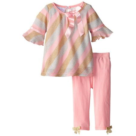 8186411243581 Baby Girl Pink Metallic Bias Stripe Knit Dress/Legging Set, Bonnie ...
