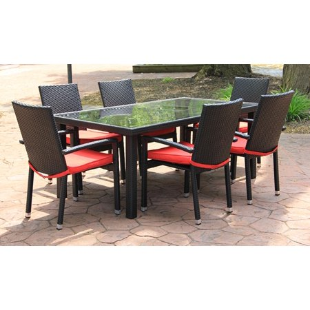 7 Piece Black Resin Wicker Outdoor Furniture Patio Dining Set Red Cushions