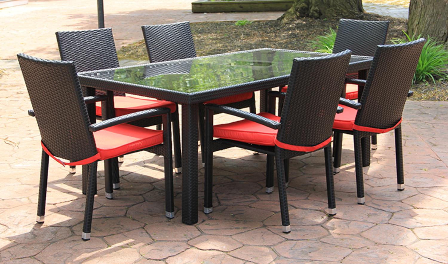 7 Piece Black Resin Wicker Outdoor Furniture Patio Dining Set   Red Cushions Part 52