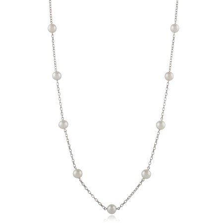 6-7mm White Cultured Freshwater Pearl Sterling Silver Station Chain Necklace, 18
