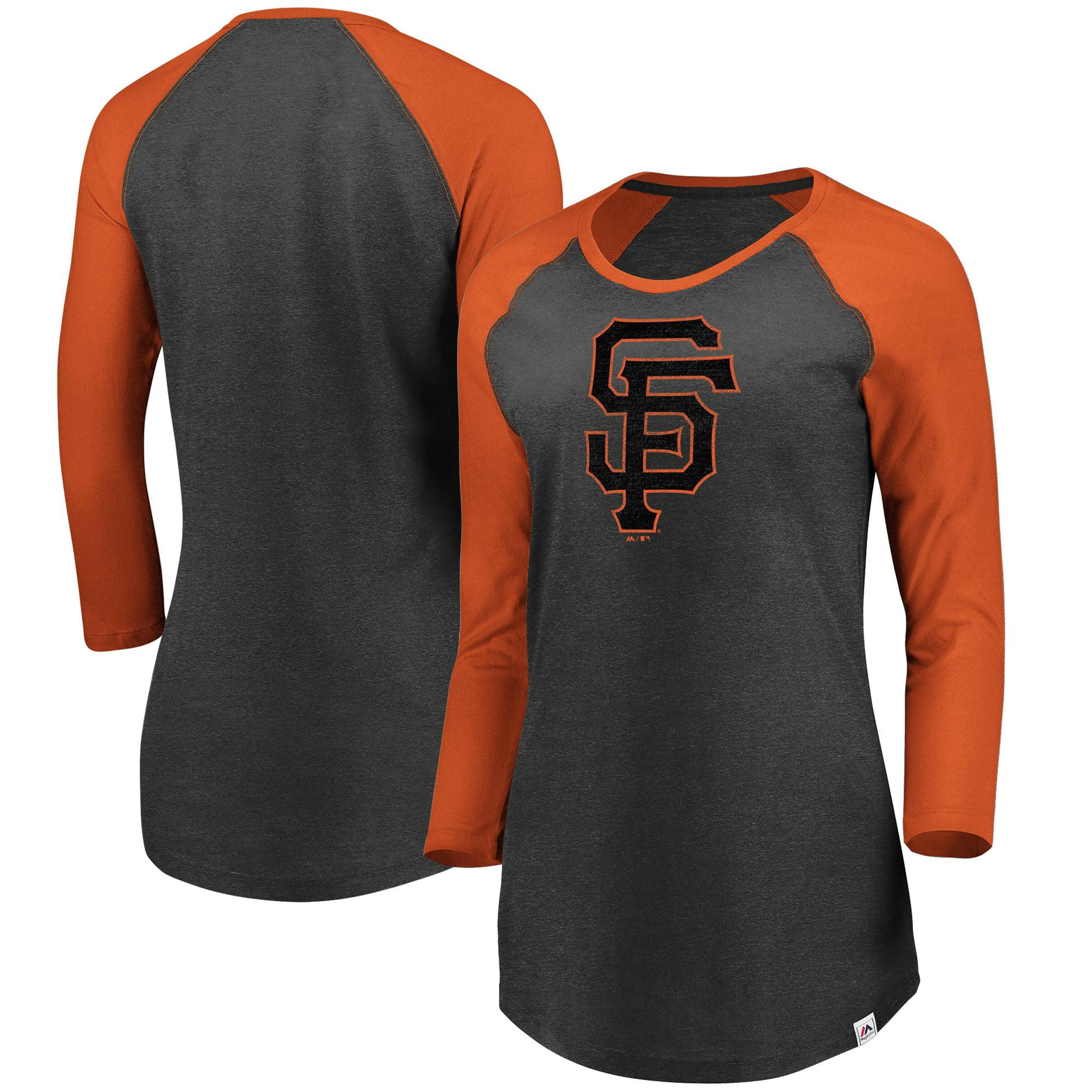 San Francisco Giants Majestic Women's Winner's Glory Raglan 3/4-Sleeve T-Shirt - Heathered Charcoal