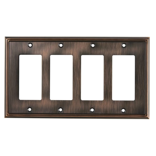 Richelieu BP851111 Quadruple Contemporary Rocker Switch Plate from the Decora Collection