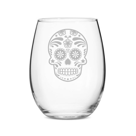 Skull Day of the Dead 15 oz  Stemless Wine Glass ()