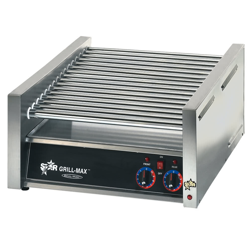 45C Grill-Max 45 Hot Dog Roller Grill with Chrome Rollers - Slanted 230 Volts by TableTop king