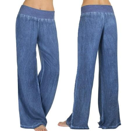 MIARHB Women Casual High Waist Elasticity Denim Wide Leg Palazzo Pants Jeans Trousers Wide Leg Trouser Jean