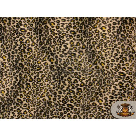 Velboa Faux Fake Fur Cheetah Brown Yellow Fabric