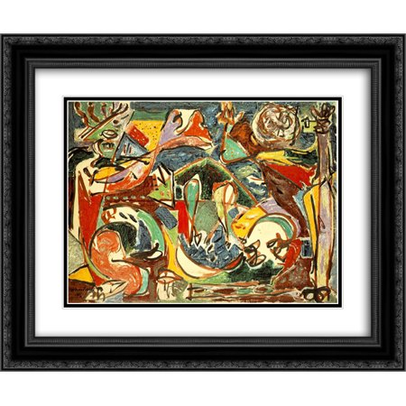 Jackson Pollock 2x Matted 24x20 Black Ornate Framed Art Print 'The - Ornate Key