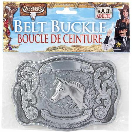Adults Steampunk Cowboy Costume Accessory Silver Belt Buckle - Costume Belts