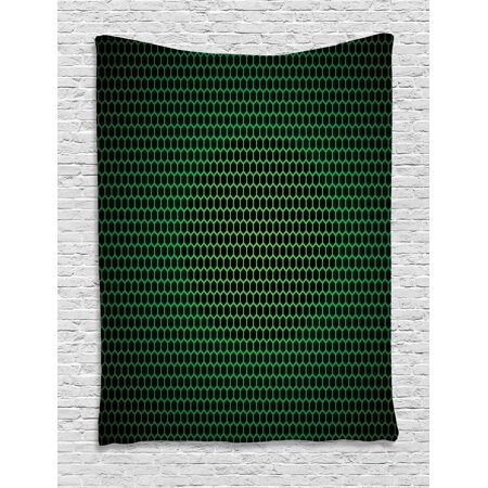Brilliant Forest Green Tapestry Geometrical Honeycomb Pattern With Polygons Technology Themed Grid Mesh Tile Wall Hanging For Bedroom Living Room Dorm Decor Home Interior And Landscaping Spoatsignezvosmurscom