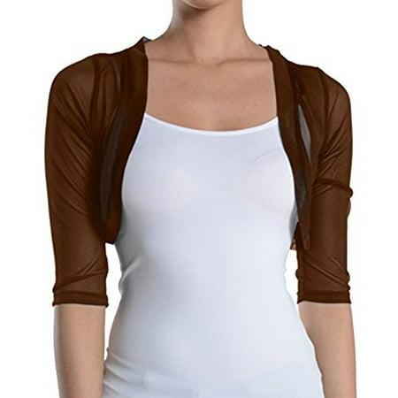 Fashion Secrets Junior's Sheer Chiffon Bolero Shrug Jacket Cardigan 3/4 Sleeve (Large, Brown) for $<!---->