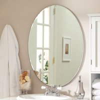 "Medium 22"" x 28"" Oval Beveled Odelia Frameless Wall Mirror by Dcor Wonderland"