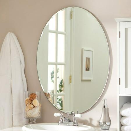 Micro Diecast Mini Oval Mirror - Odelia Oval Bevel Frameless Wall Mirror