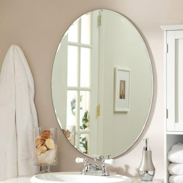 Medium 22 X 28 Oval Beveled Odelia, Oval Frameless Bathroom Mirror