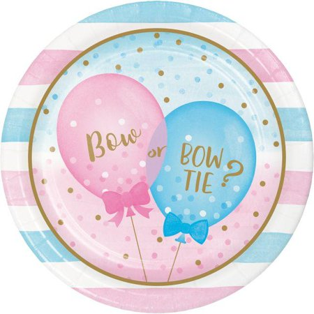 Gender Reveal Box With Balloons (Creative Converting Gender Reveal Balloons Paper Plates, 8)