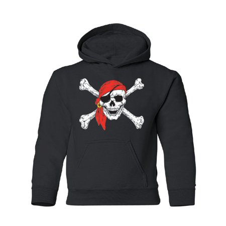 Pirate Youth Sweatshirt - Jolly Roger Pirate Flag YOUTH Hoodie Sweatshirt Black YOUTH Large