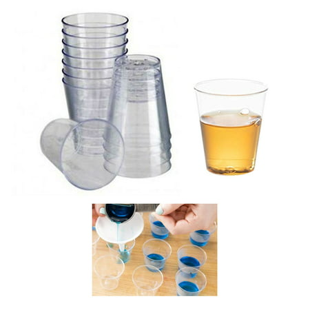 Party Shot Glasses (60 X Mini Shot Glasses Clear Hard Plastic 0.68 Oz 20ml Party Cups Catering)