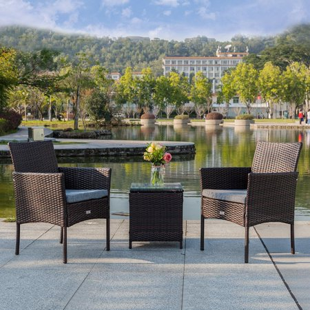 Zimtown 3-Pieces Set Resin Rattan Wicker Chairs with Cushions and Table, Outdoor Garden Patio or Indoor Furniture, Brown ()