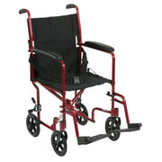"""Drive Medical Lightweight Transport Wheelchair, 19"""" Seat, Red"""