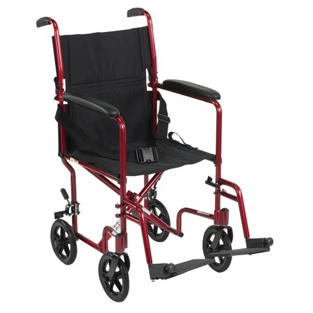 "Drive medical lightweight transport wheelchair, 19"" seat, red"