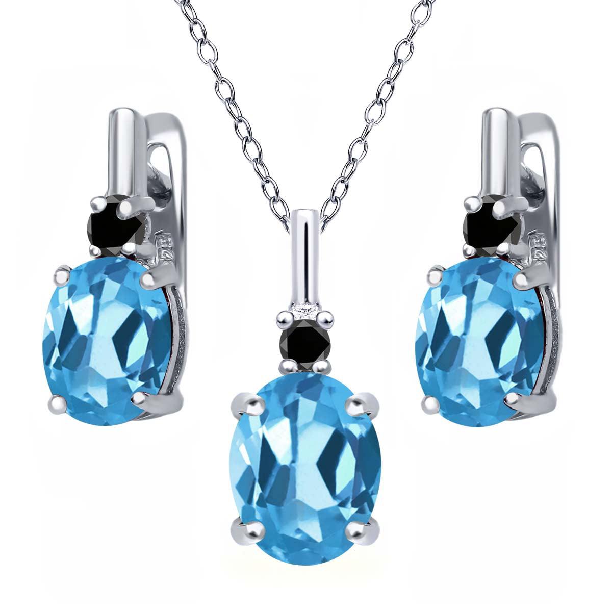 6.67 Ct Swiss Blue Topaz Black Diamond 925 Sterling Silver Pendant Earrings Set by