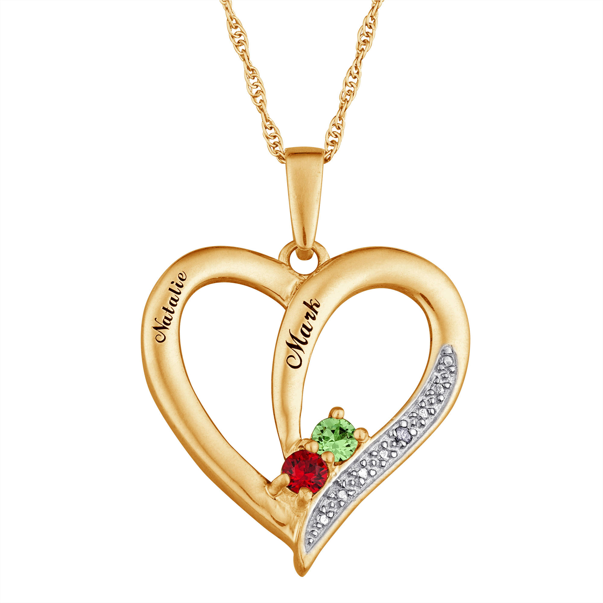 Personalized Couple's Diamond & Birthstone Heart Pendant, Sterling Silver or Sterling Silver w. 14K Gold Overlay