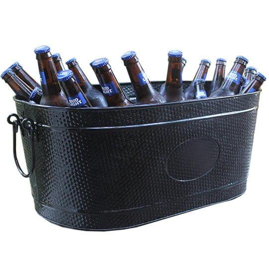 Party City Beverage Tub: BREKX Heavy-Duty Black Galvanized Creighton Pebbled