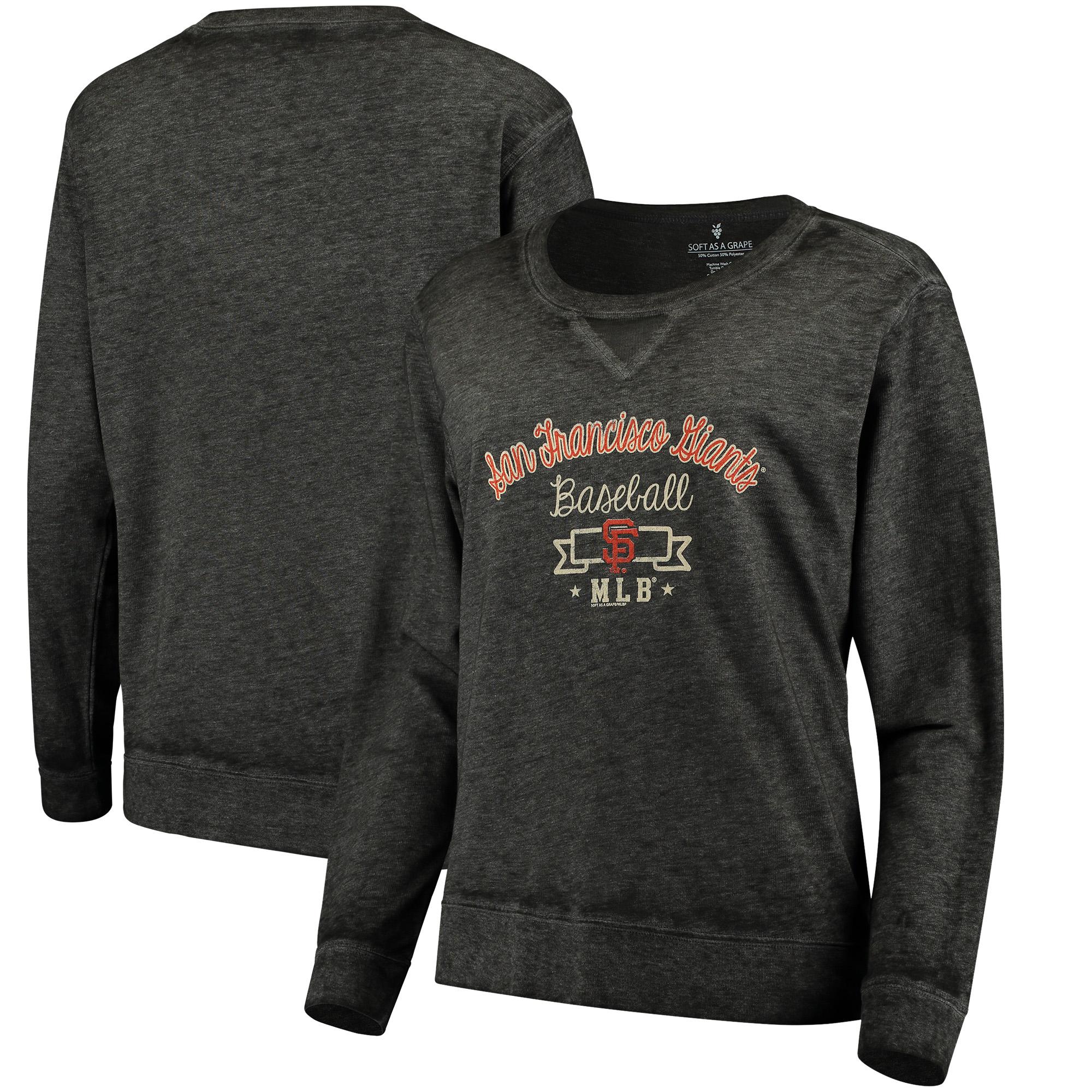 San Francisco Giants Soft as a Grape Women's Home Run Swing Sweatshirt - Black
