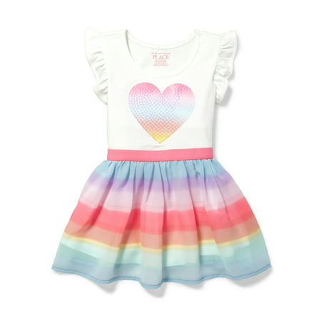 Knit to Woven Rainbow Heart Dress (Baby Girls & Toddler - Baby Girl Rainbow Dress
