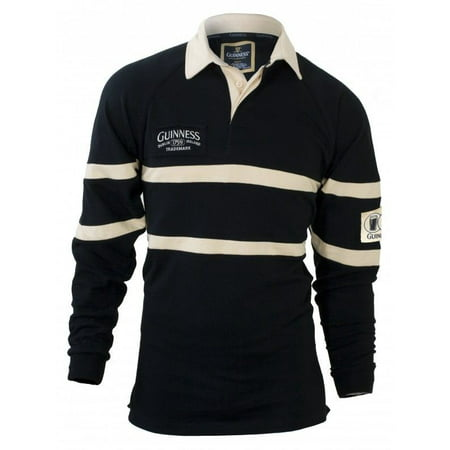 Guinness Black & Cream long-sleeve Authentic Rugby Jersey Shirt - - Spandex Rugby