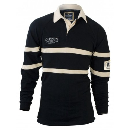 Guinness Black & Cream long-sleeve Authentic Rugby Jersey Shirt - XL