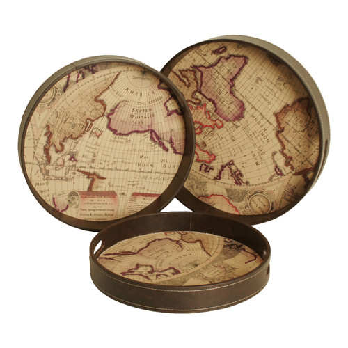 WaldImports 3 Piece Antiqued Map Print