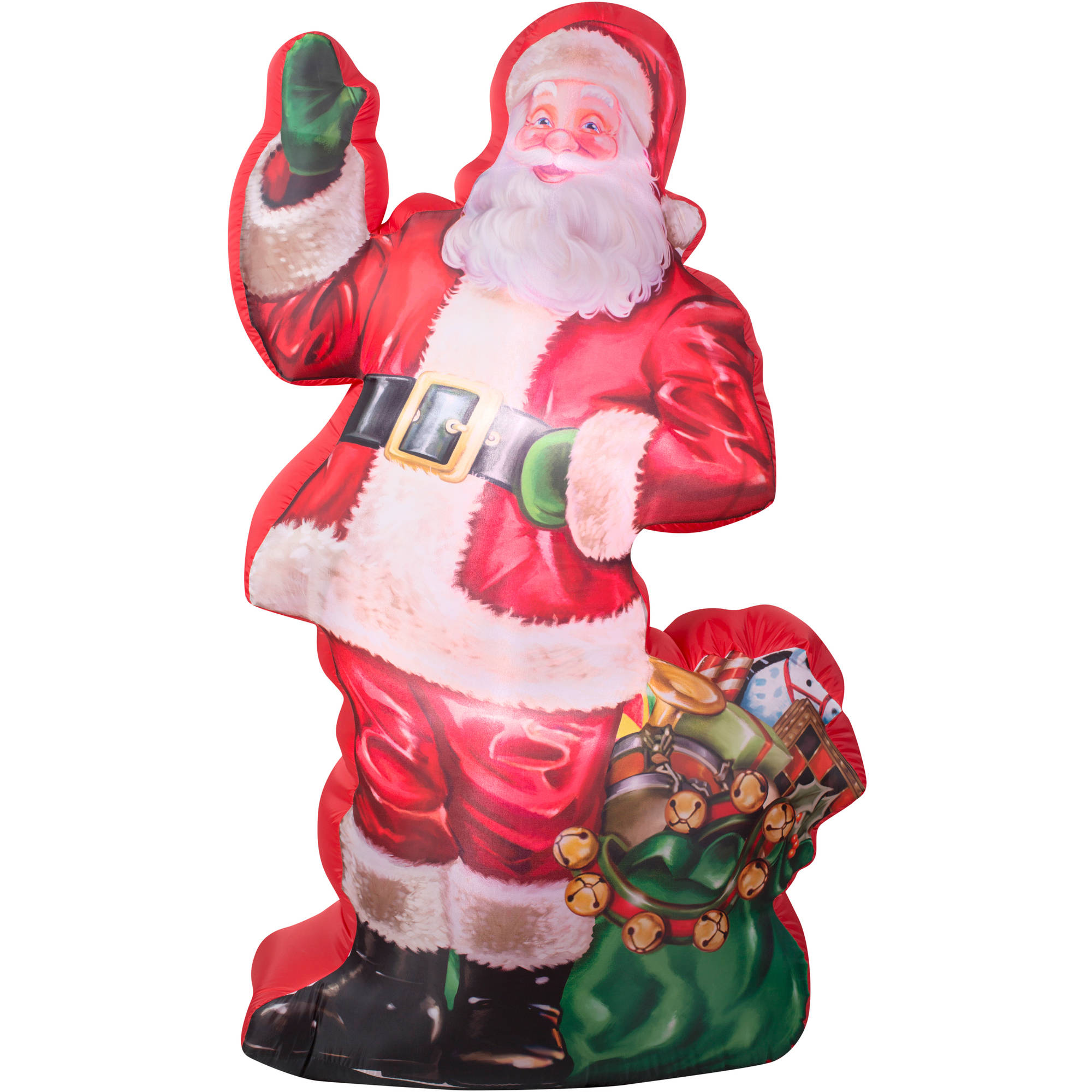 7' Airblown Inflatable Photorealistic Illustrated Santa with Gift bag Christmas Inflatable