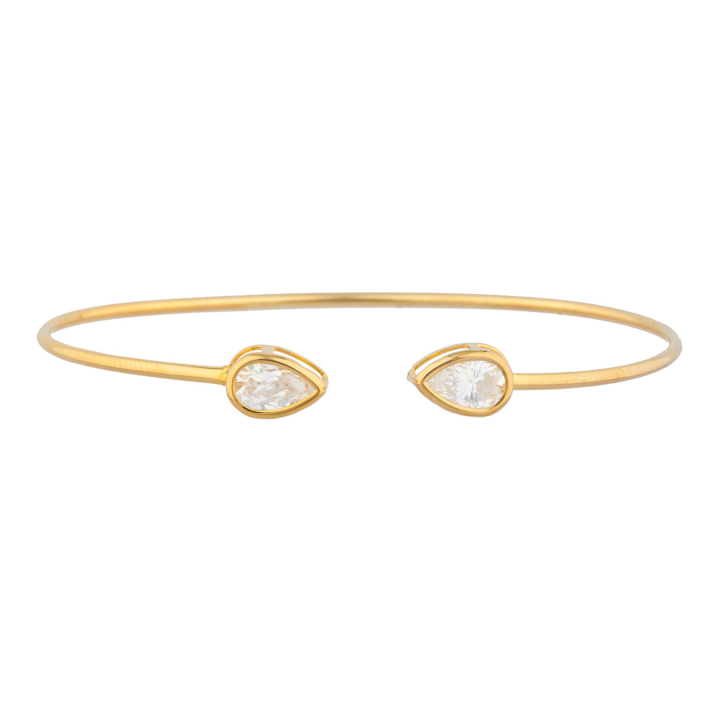 14Kt Yellow Gold Plated White Sapphire Pear Bezel Bangle Bracelet by Elizabeth Jewelry Inc