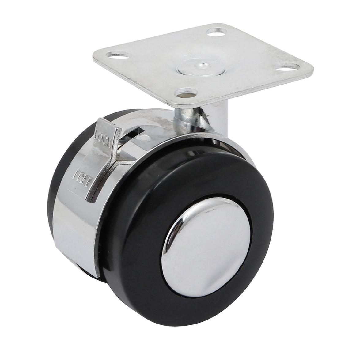 2-inch Diameter Double Wheel Swiveling Top Plate Brake Caster Roller - image 2 de 2
