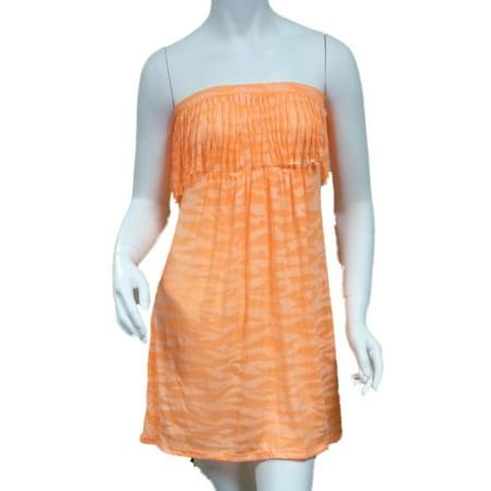 Bongo Junior Womens Orange Swim Suit Cover Up Neon Zebra Strapless Sun Dress