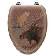 WGI-GALLERY Chocolate Moose Oak Elongated Toilet Seat