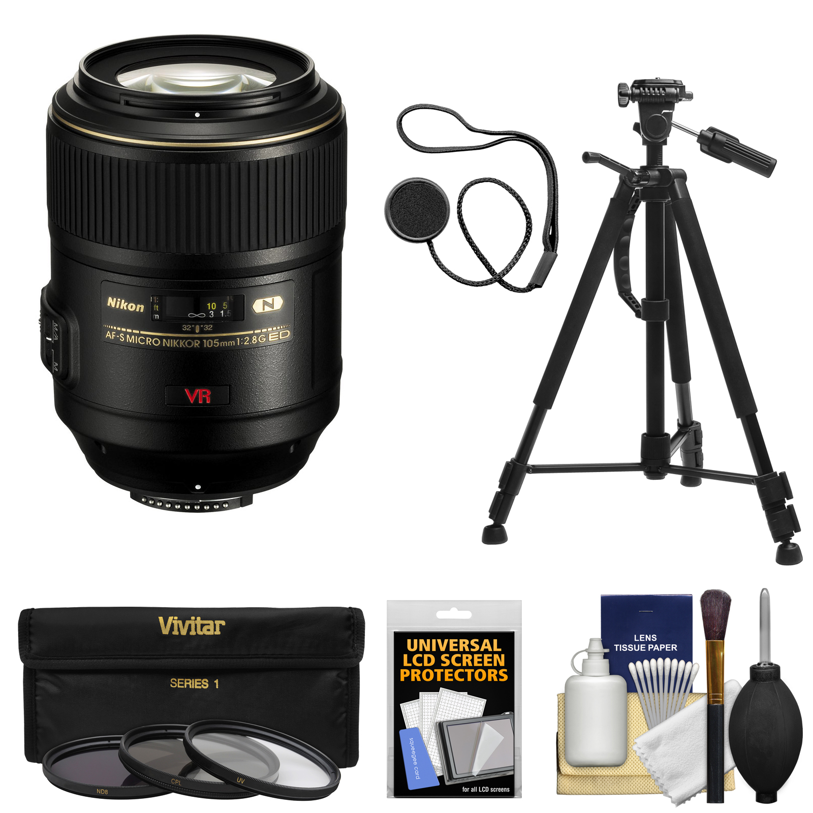 Nikon 105mm f/2.8 G VR AF-S Micro-Nikkor Lens with 3 Filters + Tripod + Kit for D3200, D3300, D5300, D5500, D7100, D7200, D610, D750, D810, D4s Camera